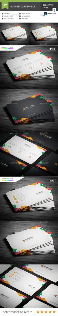 Multicolor Business Card Template PSD Bundle