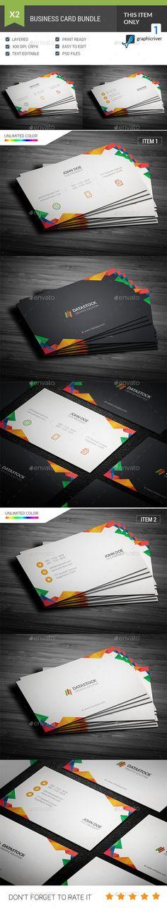 Multicolor Business Card Template PSD Bundle