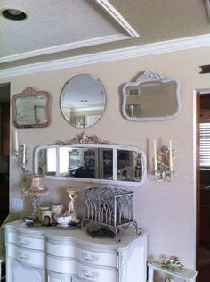 shabby chic decor  the use of mirrors!!!!