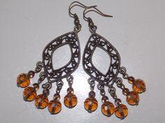 Amber Dangle Earrings by EriniJewel on Etsy, $18.00