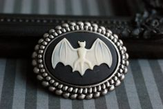 Bat cameo brooch/pendant #Gothic Victorian jewelry by VaeNox