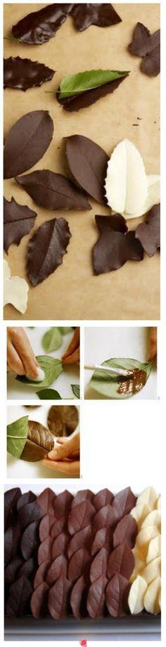 chocolate leaves