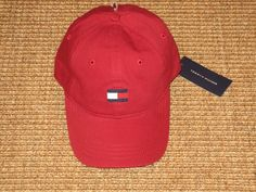 NEW TOMMY HILFIGER MEN'S BASEBALL CAP HAT  BIG FLAG LOGO SPORT CLASSIC  RED…