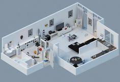 plano de piso pequeño blanco y moderno
