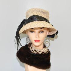 vintage 1940s Emme Inc weaved plume hat by RetroThreadzVintage, $28.00