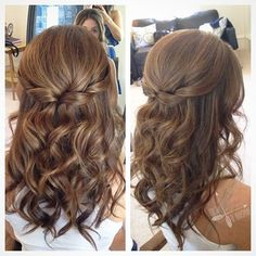 Pretty Half up half down hairstyle for curly hair - partial updo wedding hairstyles