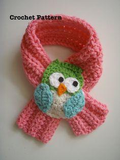 Crochet Owl Scarfette Scarf PATTERN PDF by prettythings55 on Etsy, $4.99