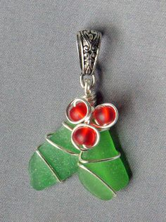 Sea Glass Christmas Holly Pendant