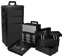 "Seya 3 in 1 Professional Rolling Makeup Case with Drawers 29"" All Black Aluminum by Seya, http://www.amazon.com/dp/B008Z1DWXS/ref=cm_sw_r_pi_dp_Z82qrb1WVKXXD"