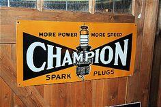 Old Champion porcelain sign