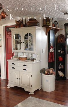 so I thought it best to snap some photos of my kitchen while it's almost spotless. I have no problem admitting this place is never spotless. Old Country Decor, Cute N Country, Country Primitive, Country Living, China Cabinet Display, Rustic Furniture, Home Improvement, Sweet Home, Room Ideas