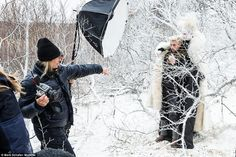 Stay right there: Annie Leibovitz directs Lucky in a frozen woodland as he is captured by the Snow Queen - luckily he had lots of warm clothing to wear
