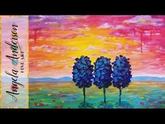 Simple Sunset Landscape | How to Paint Drip Trees & Clouds | Live Beginn...