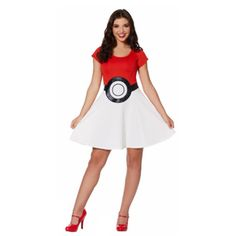 Pokeball Dress - Pokemon - Gotta catch'em all! Show your love of Pokemon with this cute and officially licensed dress! Pikachu Halloween Costume, Funny Kid Halloween Costumes, Easy Costumes, Girl Costumes, Halloween Kids, Costume Ideas, Spirit Halloween, Halloween 2019, Halloween Crafts