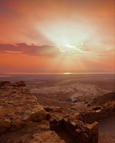 A beautiful sunrise over the Masada Fortress, in the Southern District of Israel Beautiful Sunrise, Rock Formations, Dusk, Israel, Southern, Around The Worlds, Sunset, Photography, Outdoor