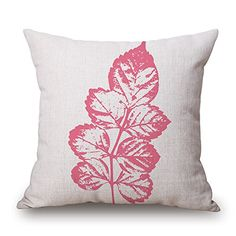 """Droyee Linen Cotton Throw Pillow Case Decorative Cushion Covers Popular Cartoon Minimalist Leaves Pink(18""""*18"""")"""
