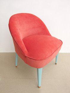 FULLY RESTORED and reupholstered vintage chair, Coral pink velvet vintage chair
