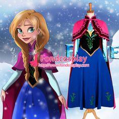 Free Shipping Disney Princess Dress Anna Dress Movie Cosplay Costume Custom Made