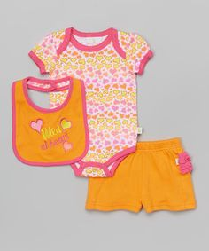 This Yellow & Pink 'Wild At Heart' Bodysuit Set - Infant by Duck Duck Goose is perfect! #zulilyfinds