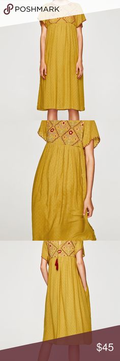 Zara mustard embroidered dress Brand new dress. Ties in the back. Has lining. No slits. Approximately 44 1/2 inches long from shoulders.  please no trades. Use the offer button  Zara Dresses Midi