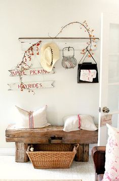 @Doors and Designs - Millwork Outlet - you can get the rustic wood to make this bench at the Millwork Outlet! cute cozy corner