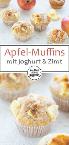 Simple juicy apple muffins with oil and yogurt. The apple-yogurt muffins are the perfect snack in autumn Simple juicy apple muffins with oil and yogurt. The apple-yogurt muffins are the perfect snack in autumn Food Cakes, Oreo, Cookie Recipes, Dessert Recipes, Baking Recipes, Yogurt Muffins, Baking Muffins, Baking Cupcakes, Dessert Bread