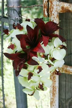 Ariel- Lime Green Orchid and Burgundy Tiger Lily Cascading Bouquet- add teal hydrangea, green goddess callas, blue elf aloe and darken the lily to 'black'