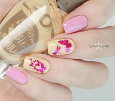 Pink and Yellow Springs Butterfly Nails