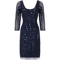 Aidan Mattox Three-Quarter Sleeve Scoop Dress, Twilight