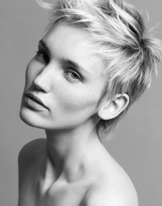 """Great cut! """"Nina Aurora (Ulla Models) shows off a new haircut with these recent black and white portraits shot by Gilbert François.""""  From Fashion Gone Rogue"""