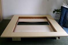 Platform Bed by vurvdesign on Etsy Low Bed Frame, Solid Wood Bed Frame, Bed Frame Plans, Modern Bedroom Furniture Sets, Modern Home Office Furniture, Custom Made Furniture, Cama Tatami, Tatami Bed, Japanese Bed