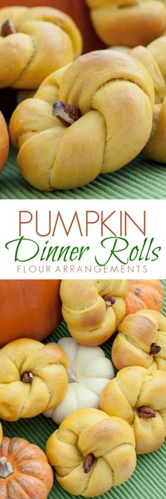 Adorable pumpkin-shaped dinner rolls flavored with saffron, curry powder, and dried ginger. A pecan stem adds the finishing touch.
