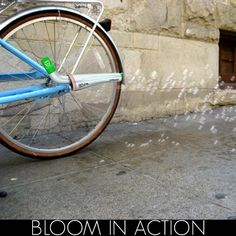 """Bloom in Action by Society Creative llc: Seeds are mixed with a bubble solution and dispersed by this bicycle bubbler to add a green """"fringe"""" to sidewalks and streets."""