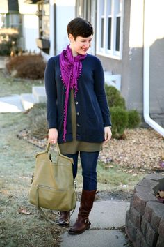 Outfit idea - olive and blue, long cardi over tunic style top, splash of bright