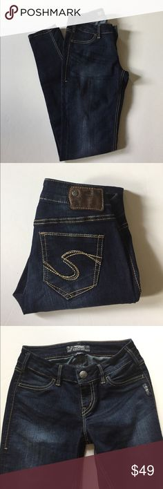 """Silver Suki Jeggings Excellent, like new condition. Suki jeggings. Stretch. Dark wash. Size 26. 78% cotton, 21% polyester, 1% spandex. Waist about 26"""", rise about 7.75"""", inseam about 31"""". Not from a smoke free house. #434 Silver Jeans Jeans"""