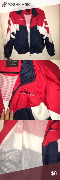 vintage wind breaker red, blue & white windbreaker w/ white mesh on the inside, few snags no holes. Diadora Tops Sweatshirts & Hoodies
