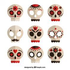 Collection Of Sugar Skulls Halloween Cat, Holidays Halloween, Halloween Decorations, Diy And Crafts, Crafts For Kids, Arts And Crafts, Paper Crafts, Skull Template, Skull Icon