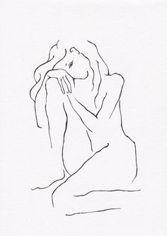 Minimalist drawing. Black and white nude figure. Original by siret. #nude…