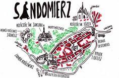 Mapa zabytków Sandomierza. Więcej we wpisie na blogu #Sandomierz