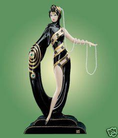Erte ART DECO Diva Pearls & Emeralds The Franklin Mint.Lmtd.Ed.