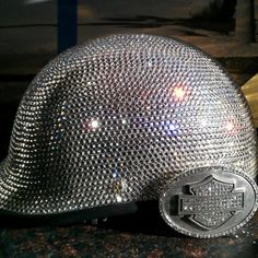 We use Genuine Swarovski Crystals. Show off in elegance and sparkle with this Lady's Blinged out Motorcycle Helmet. You won't be missed in this one!