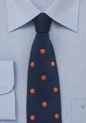 Strick-Businesskrawatte nachtblau Punkte orange günstig kaufen