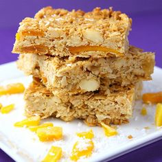 Macademia coconut mango granola bars. YUM! I love these granola bars! They are a perfect grab and go snack and really good frozen.