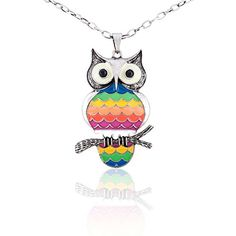 "JewelCool Rhodium Plated Large Rainbow Owl on a Tree Branch Pendant Necklace, 28"" + 2.5"" EXT. JewelCool http://www.amazon.com/dp/B00QPHRPS2/ref=cm_sw_r_pi_dp_OmjAvb1ARD399"