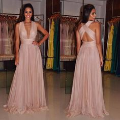 Blush pink prom dress,V-neck long prom dress,A-line backless prom gown, chiffon evening gowns