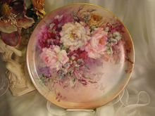 Exceptional Victorian Period Heirloom ~ Breathtaking Antique hand painted Limoges Jean Pouyat France Floral Fine Art Charger, or Fabulous Serving Tray, circa 1900