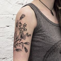 Oats, wheat, and Queen Anne's lace tattoo | Olga Nekrasova