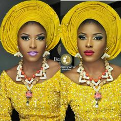 "6,141 Likes, 145 Comments - Africa's Top Wedding Website (@bellanaijaweddings) on Instagram: ""Pick Your Fave lip colour... Loving the neckpiece and rich aso-oke Makeup @beautywise_bola Beads…"""