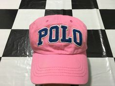 Vintage Polo ralph lauren cap spell out leather strapback Pink pastel Excellent condition by AlivevintageShop on Etsy