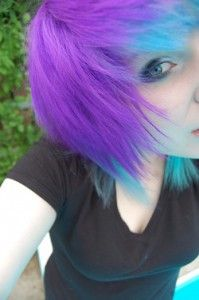 blue and purple hair! I wouldn't do all my hair by the tips!